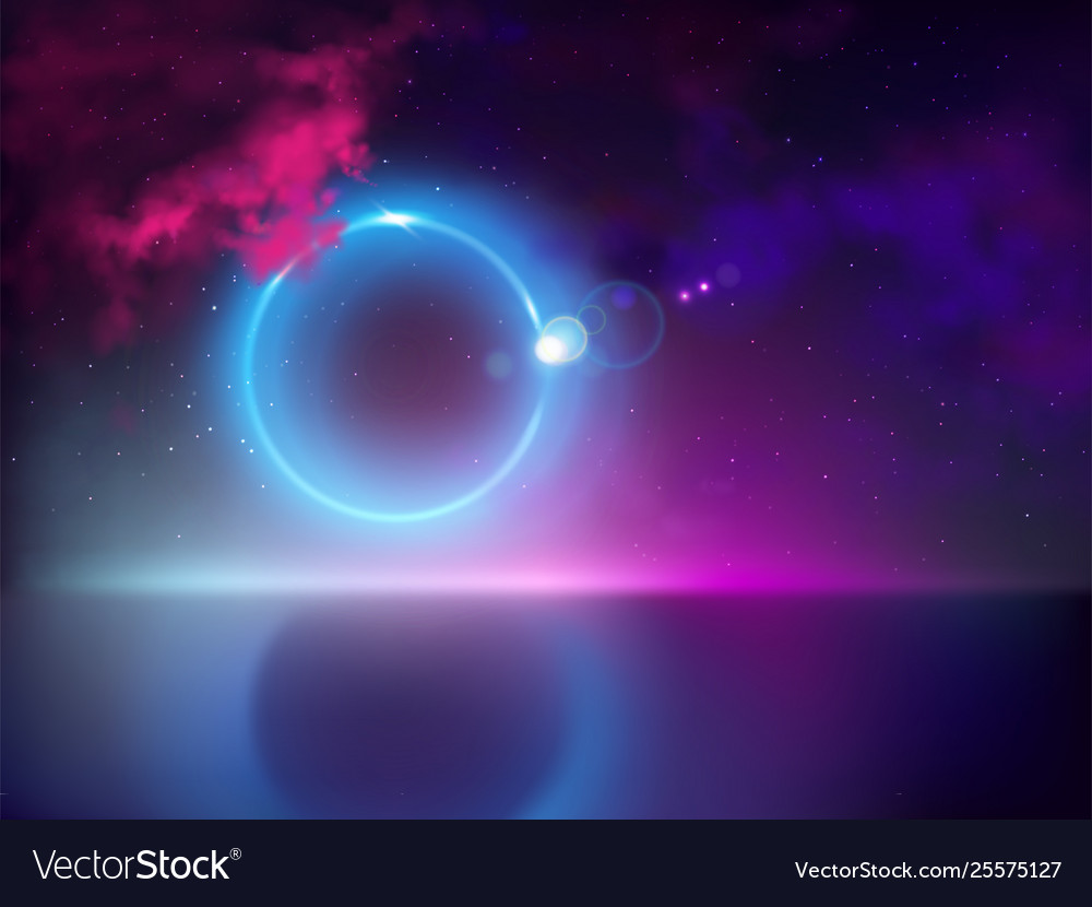 Abstract light halo in night sky
