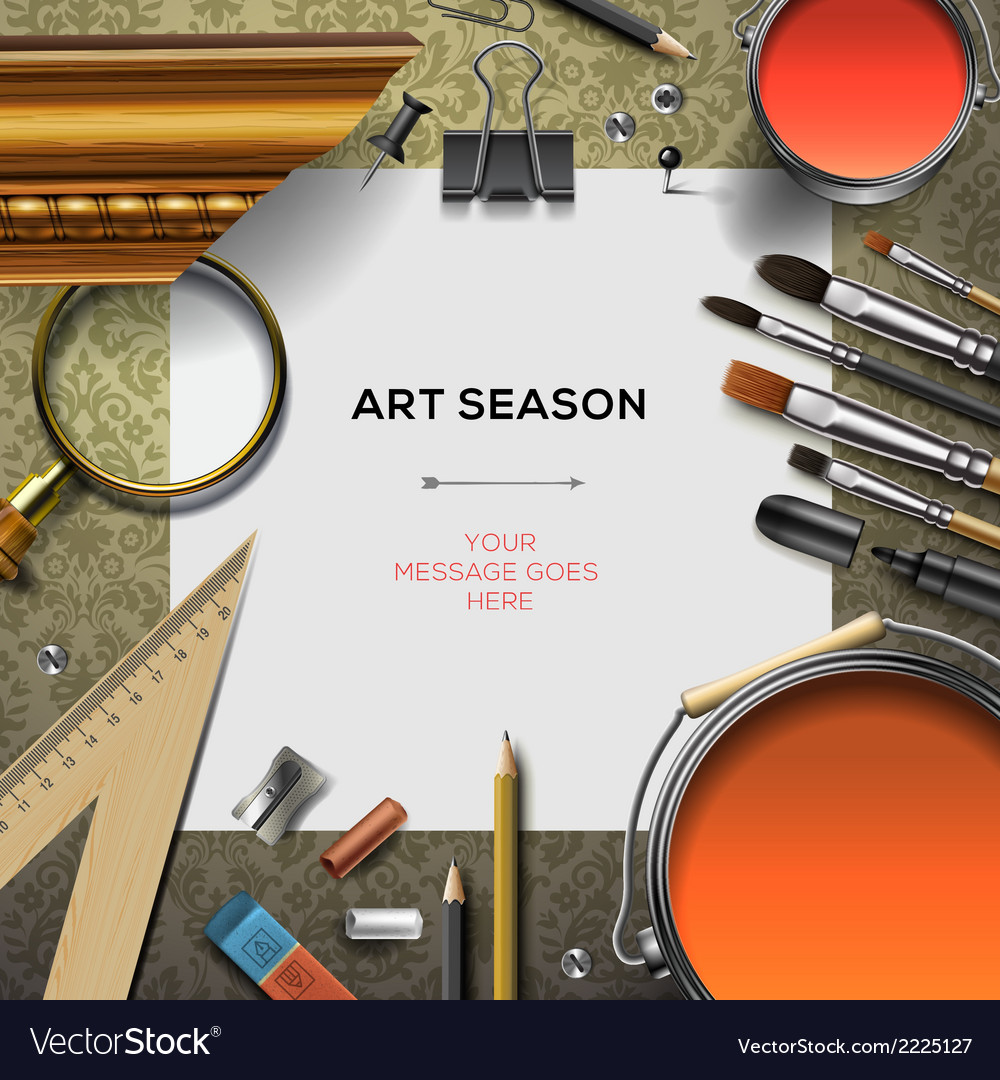 Art supplies template with artist tools vector image
