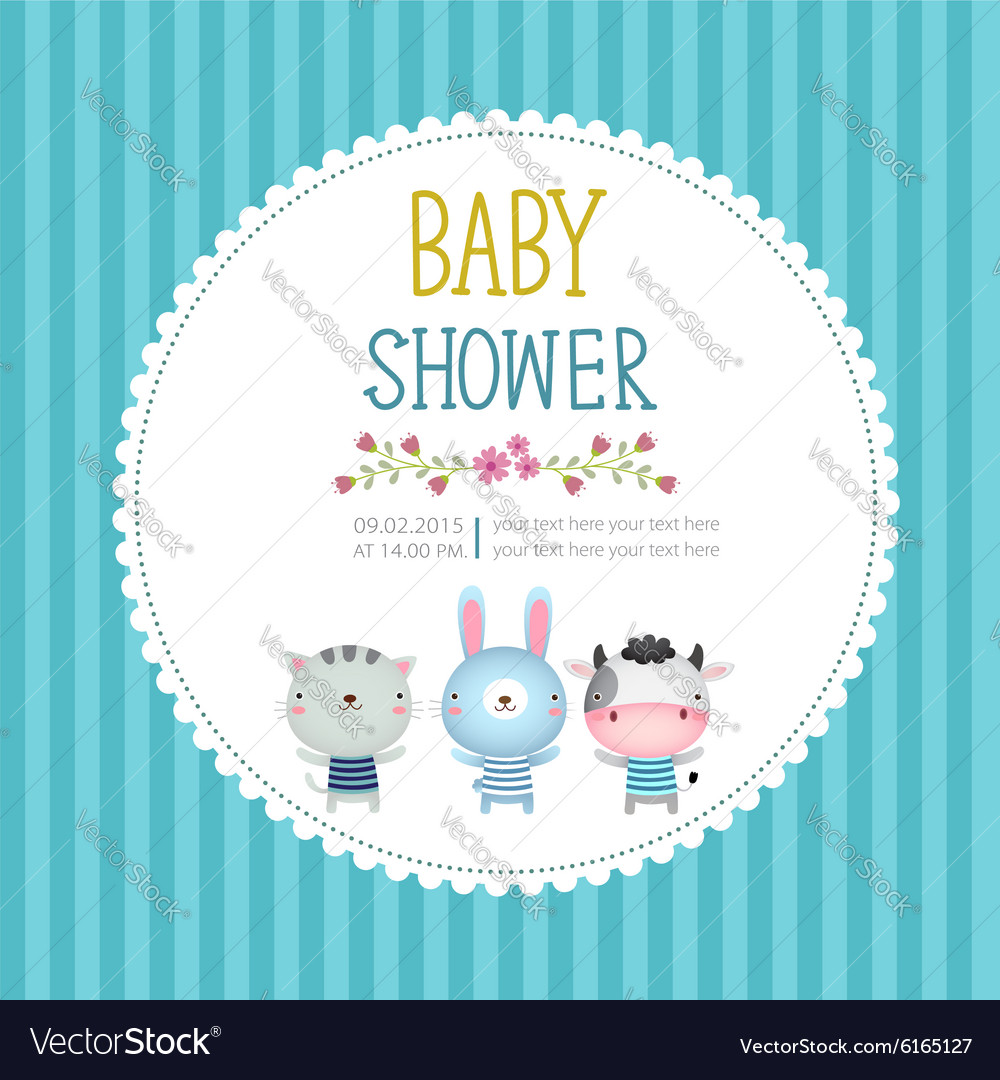 Baby Shower Invitation Card Template On Blue