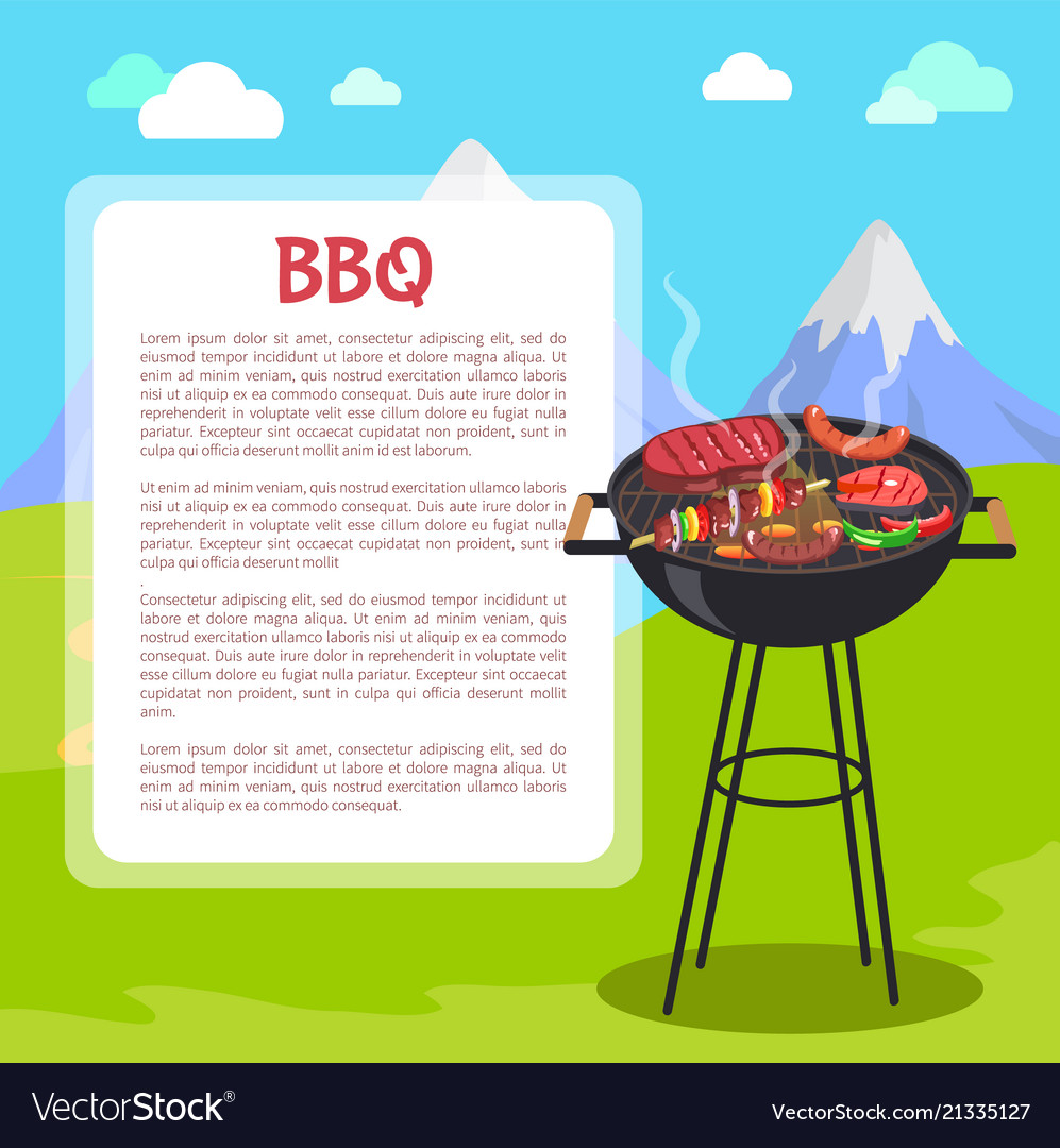 Bbq poster and mountains vector image