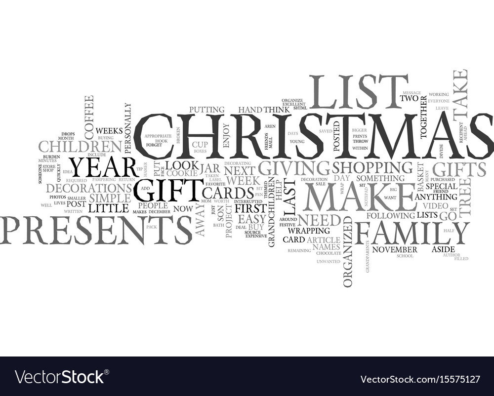 Become organized this christmas text word cloud vector image