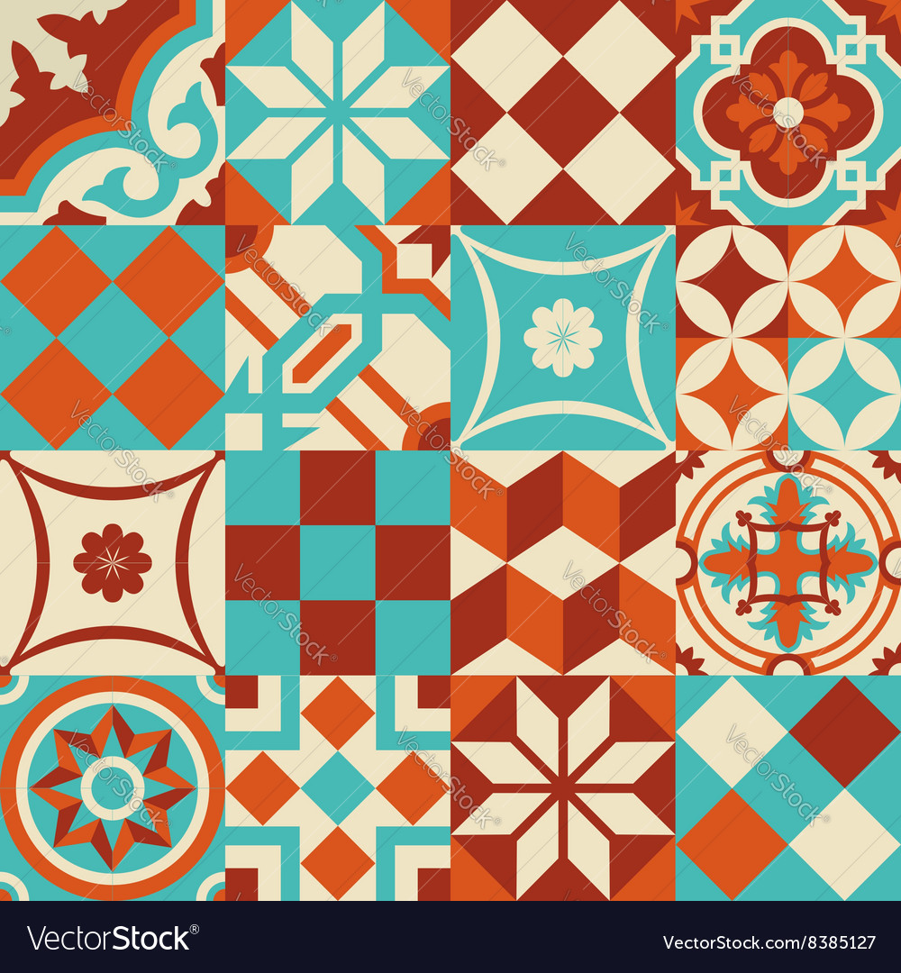 Ceramic mosaic tile pattern with geometry shapes Vector Image