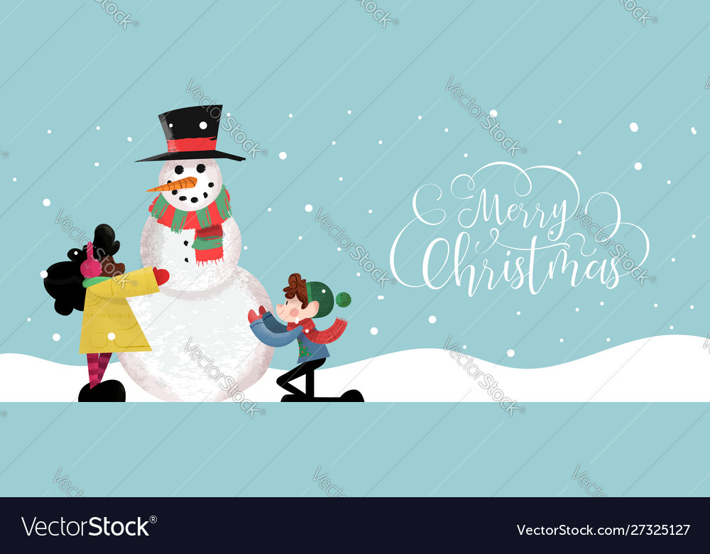 Christmas banner cute children making snowman