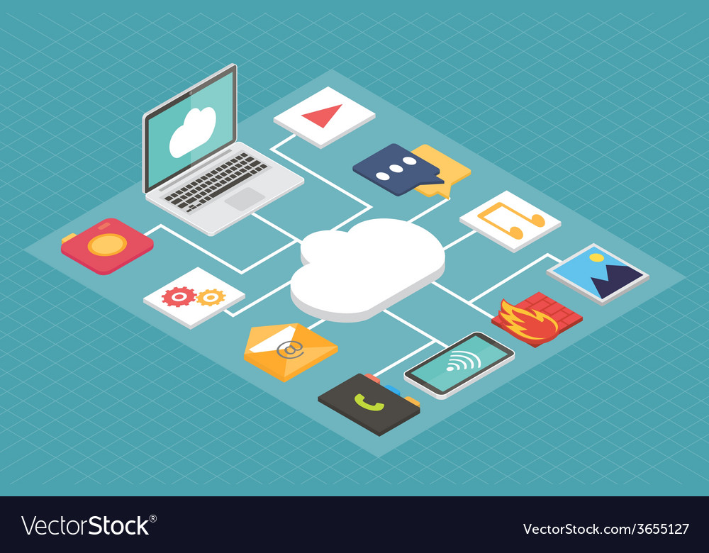 Cloud service concept isometric flat