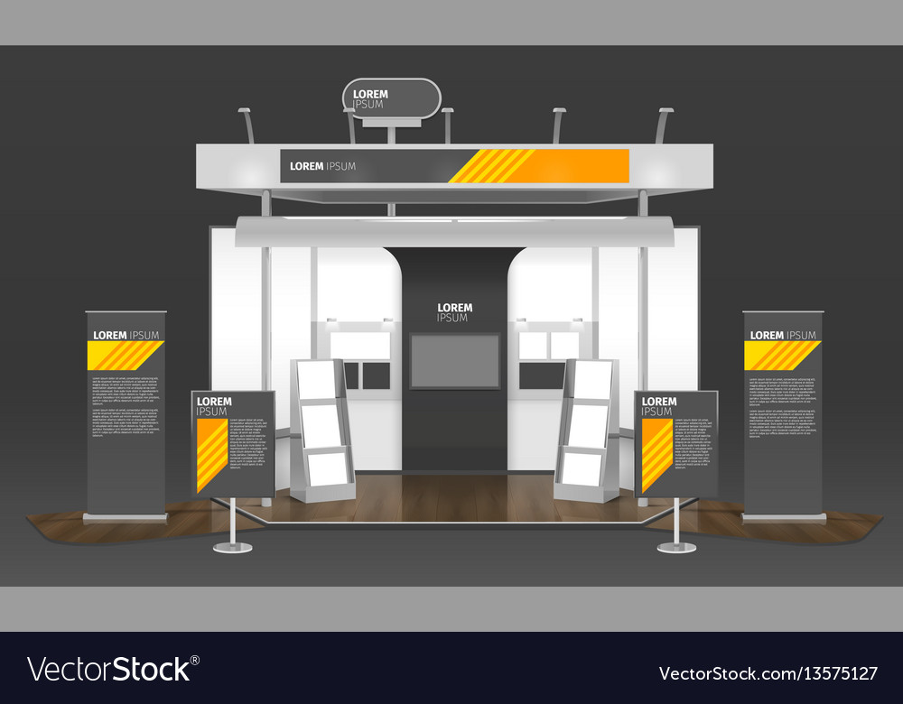 Exhibition Stand 3d Model Free : Exhibition case design d composition royalty free vector