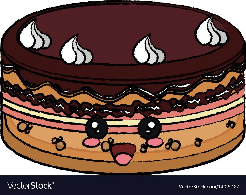 Kawaii Cake Icon Royalty Free Vector Image Vectorstock