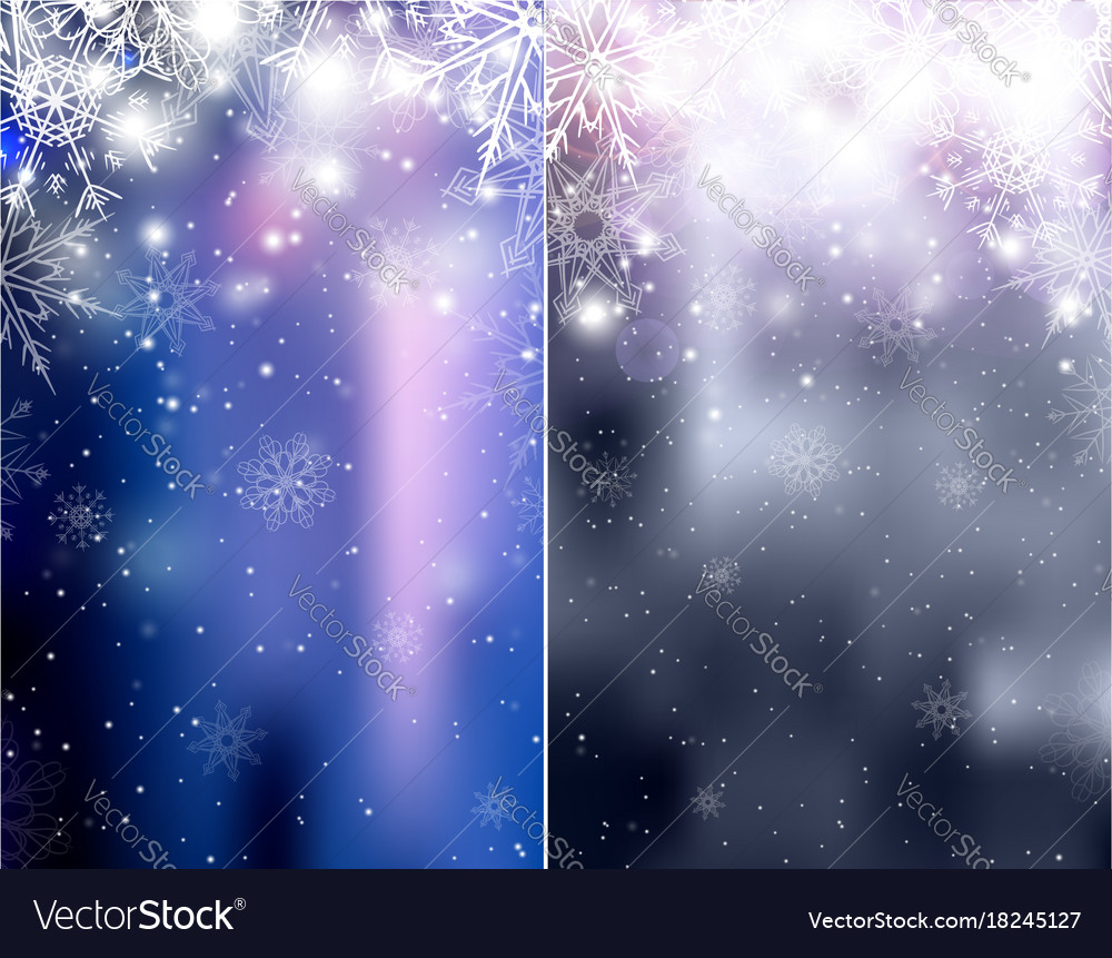 Set of blurred blue and silver christmas winter