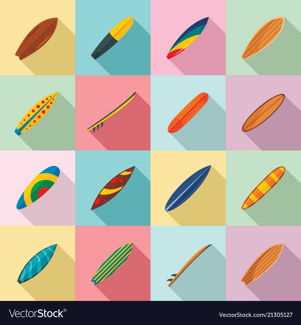 Surfboard surf board icons set flat style