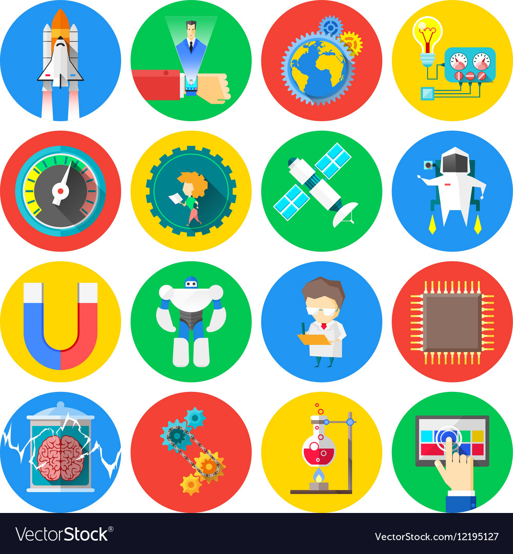 Technology and Science flat icons