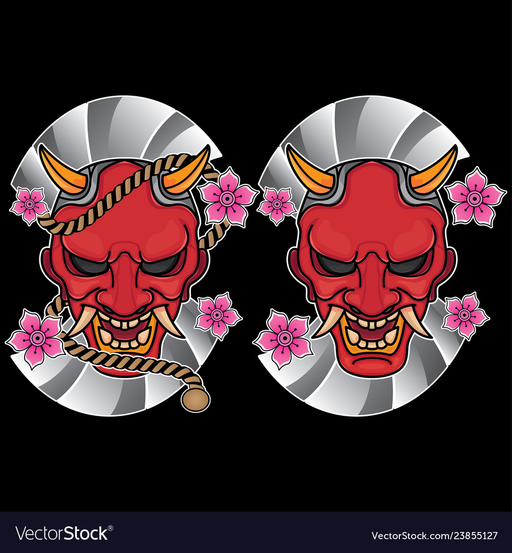 Traditional japanese mask tattoo flash