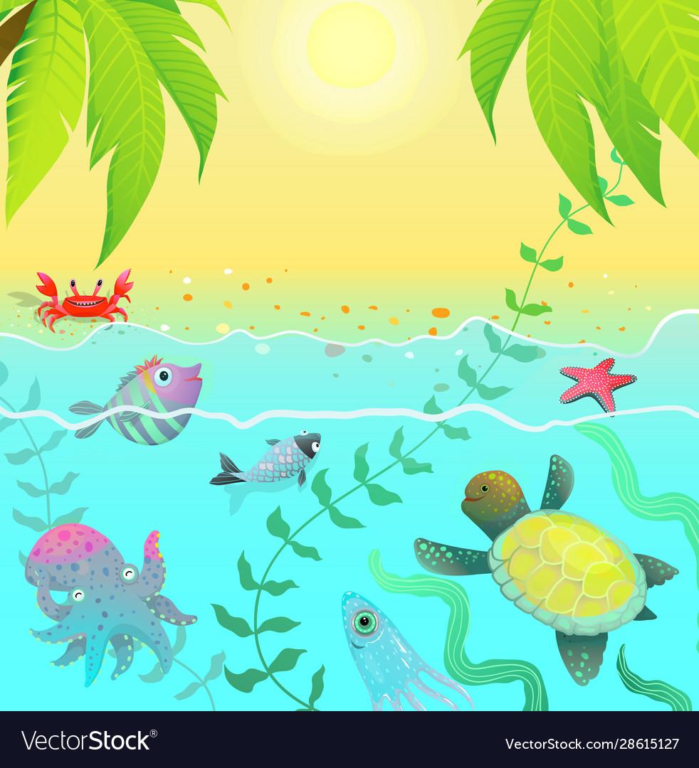 Underwater life sea creatures tropical paradise