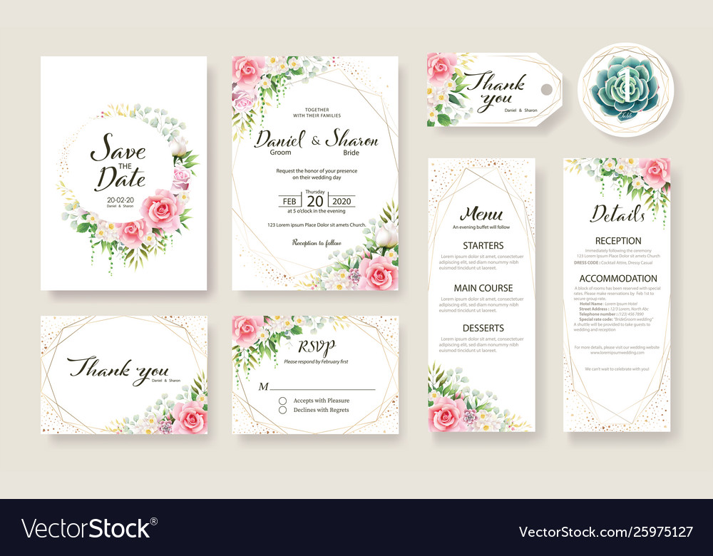 Wedding invitation card save date template