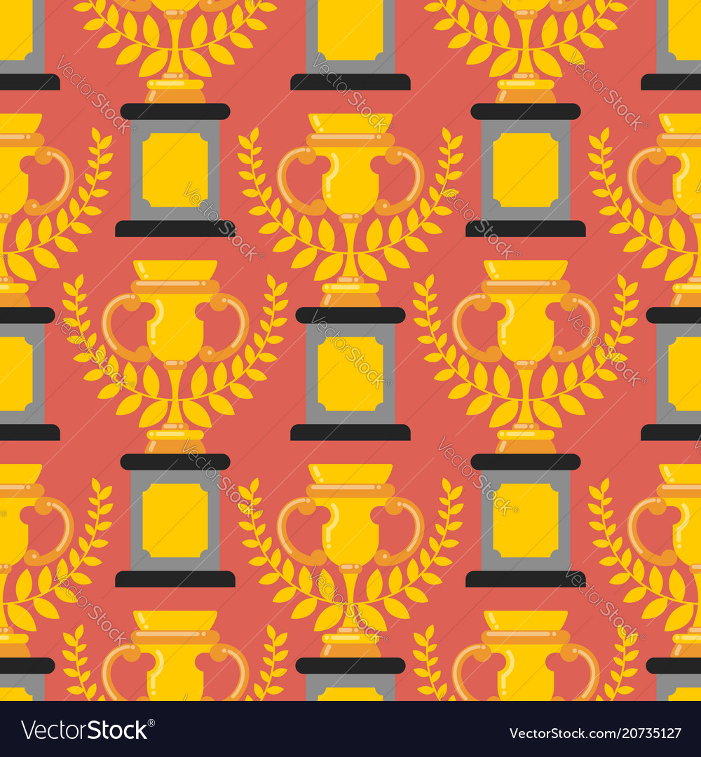 Winner cup gold seamless pattern prize of vector image