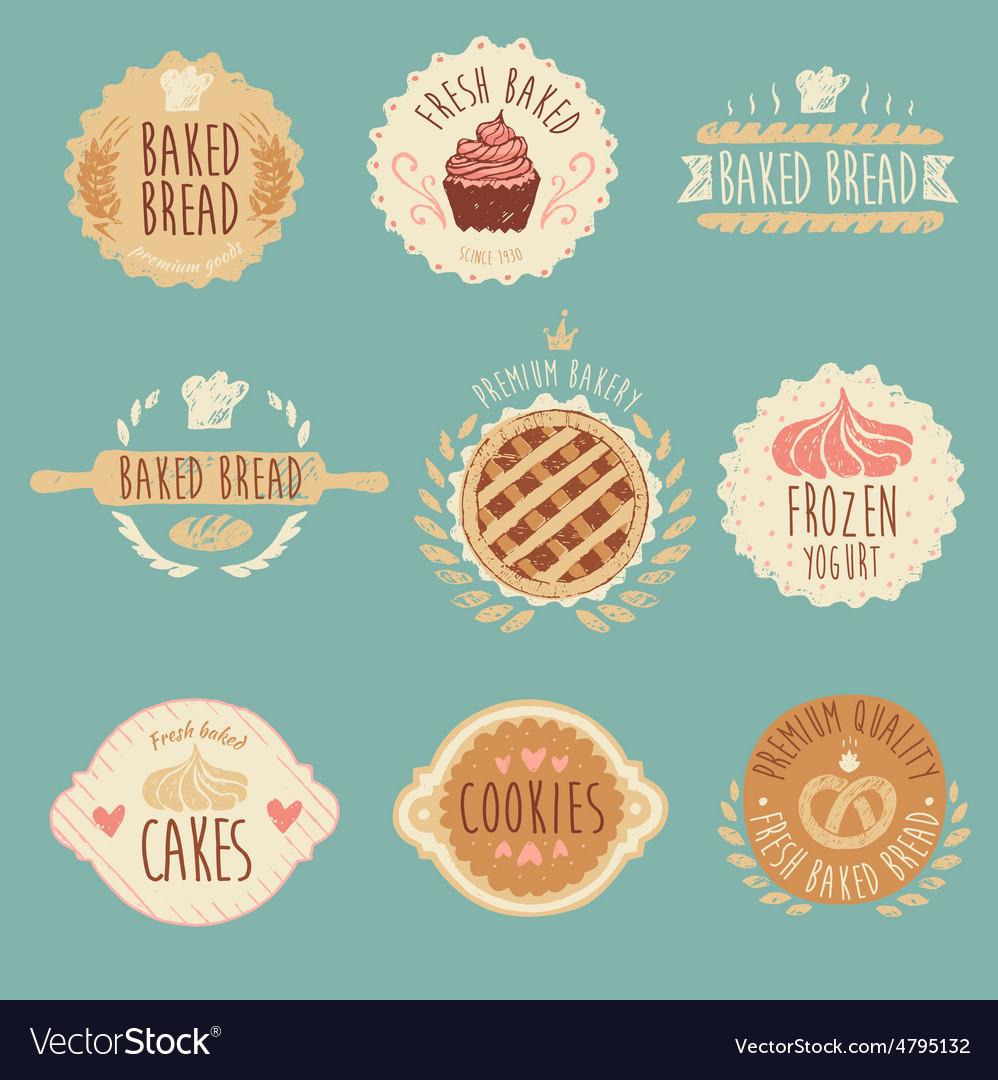 Bakery Labels Set Bread Vintage