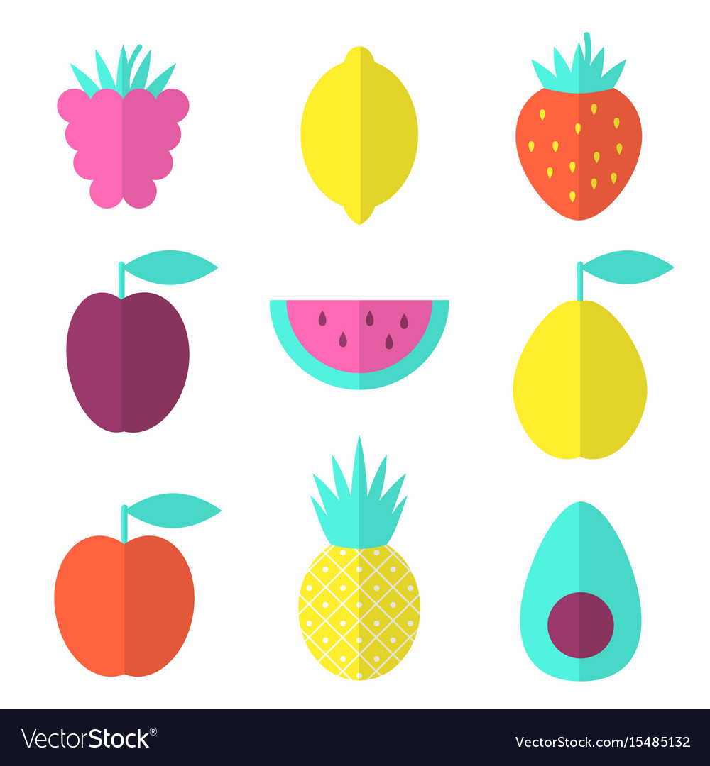 Fruits flat set with raspberry lemon and