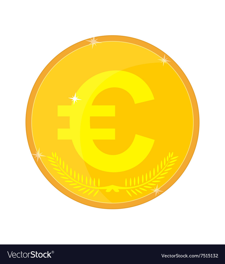 Gold Coin With The Euro Symbol Royalty Free Vector Image