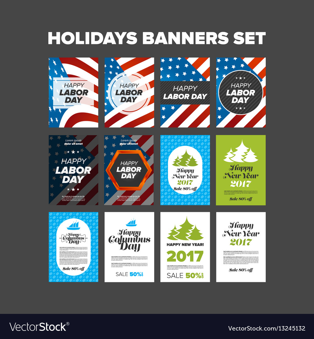 Holidays banners set vector image
