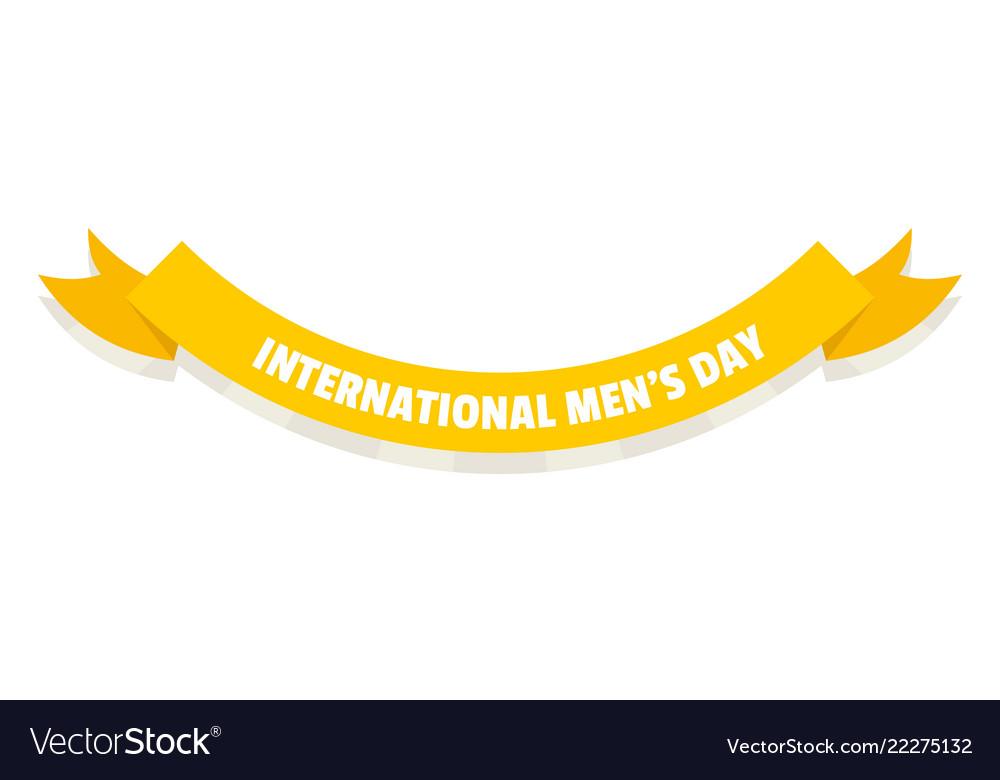 International men day ribbon icon flat style