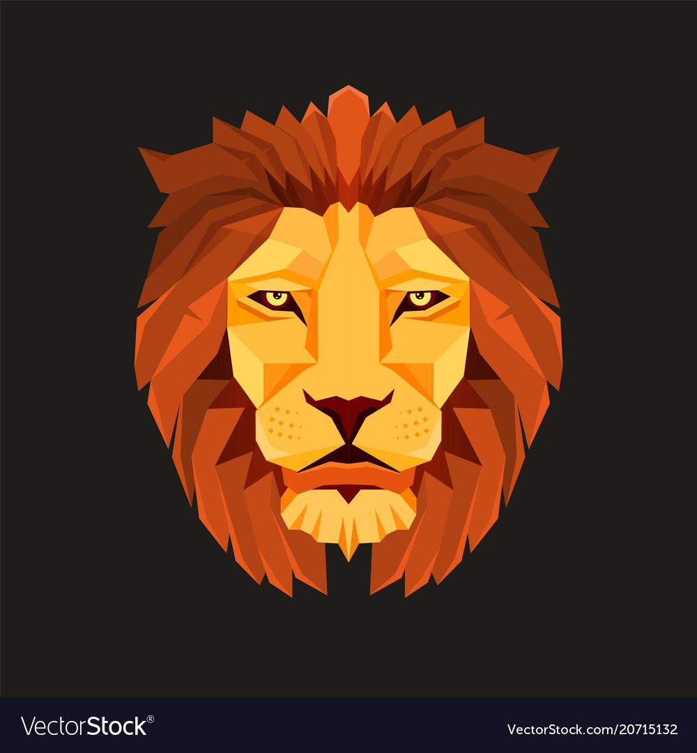 Lion head low poly design creative logo elements