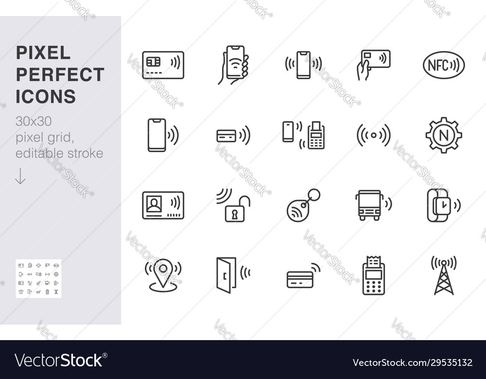 Nfc line icon set near field communication