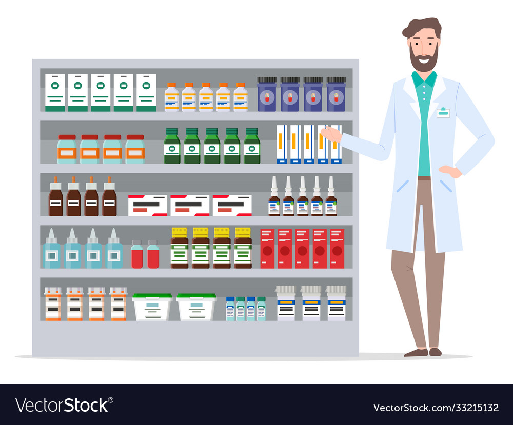 Pharmacologist and pharmacy warehouse medical