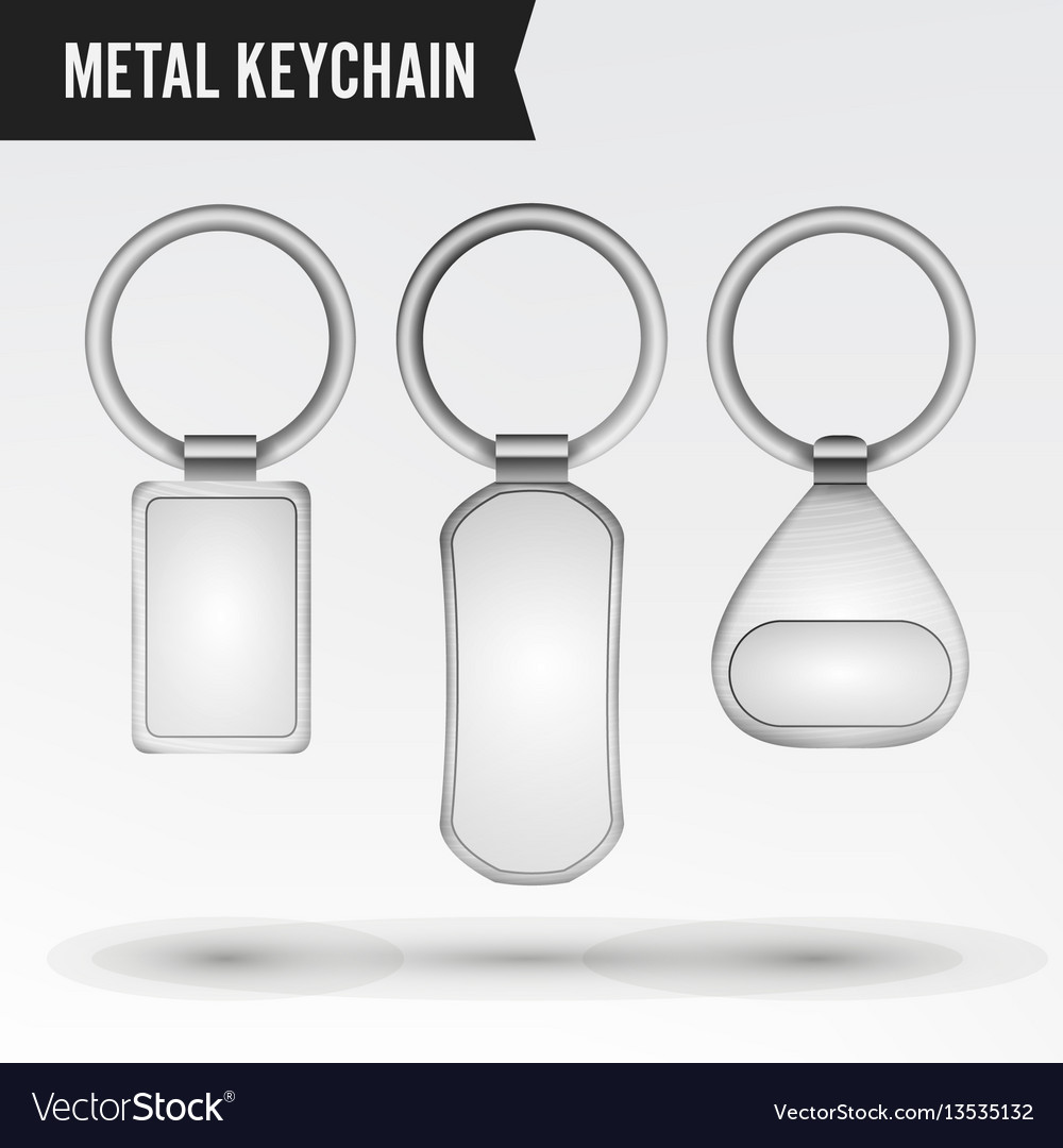 Realistic template metal keychain set 3d