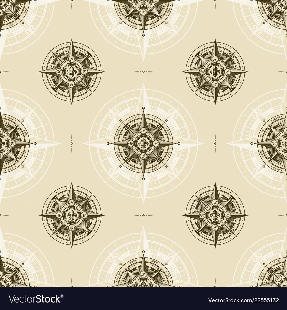 Seamless vintage nautical wind rose pattern