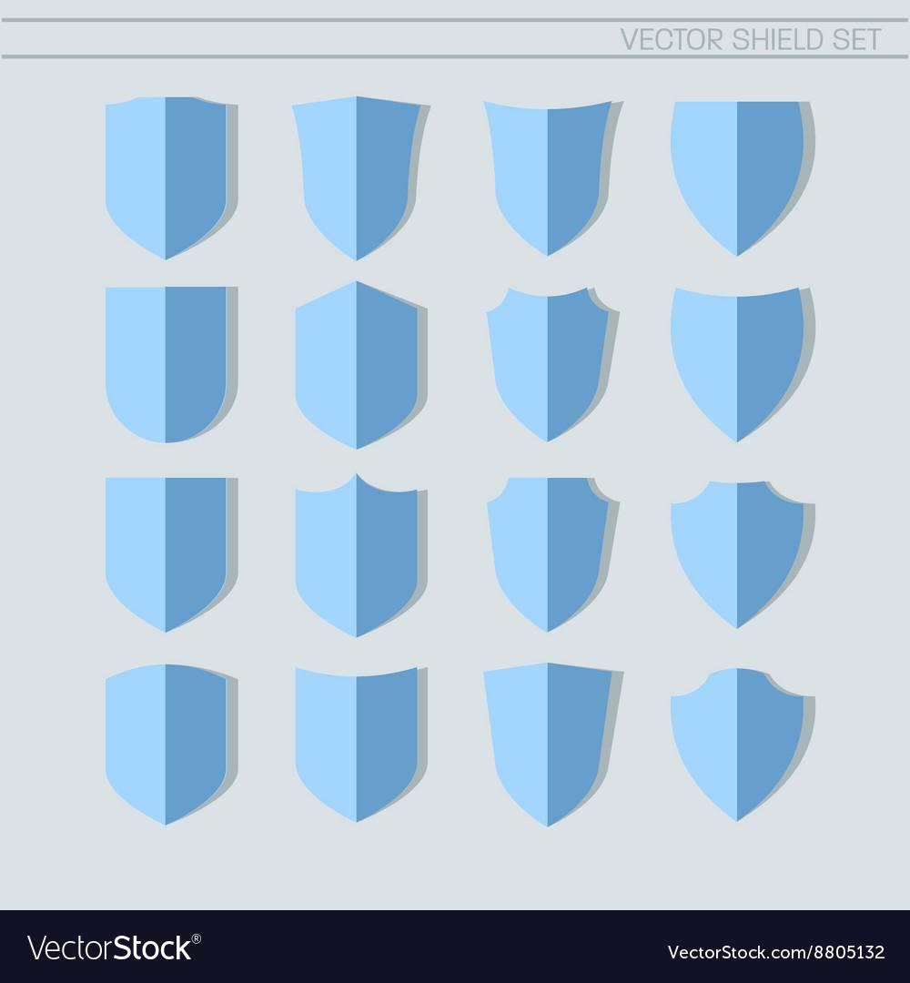 Shield Set flat icons vector image