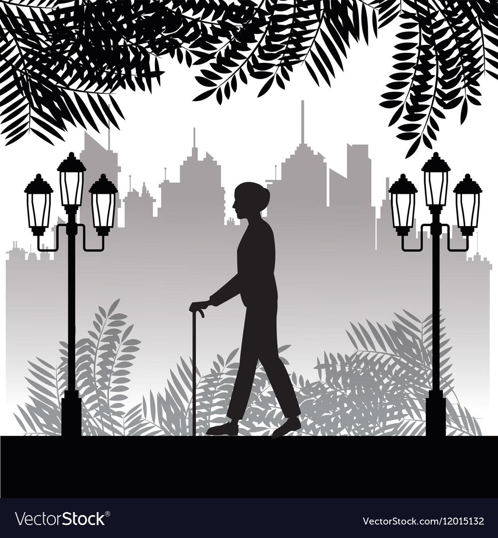 Silhouette elder man walk stick park twon