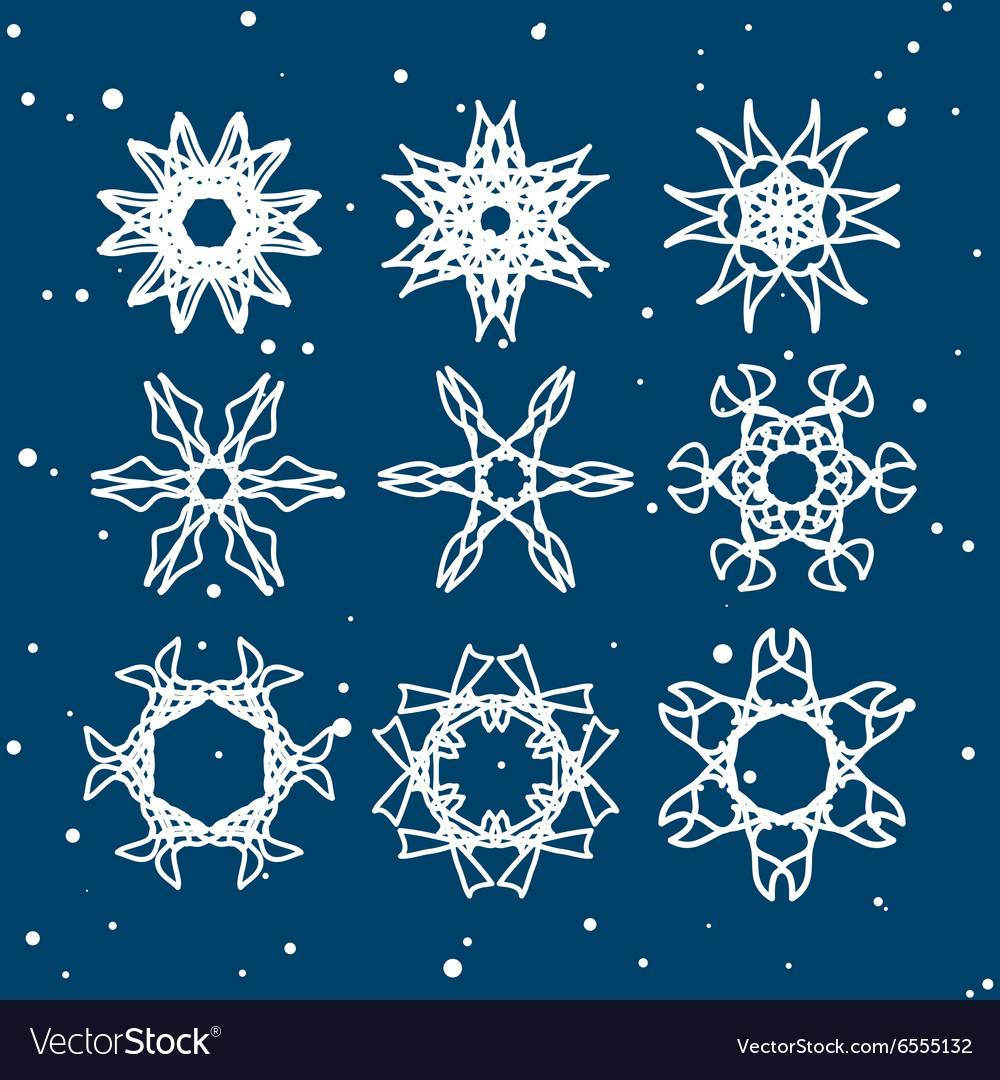 Snowflake Set Christmas and new year concept