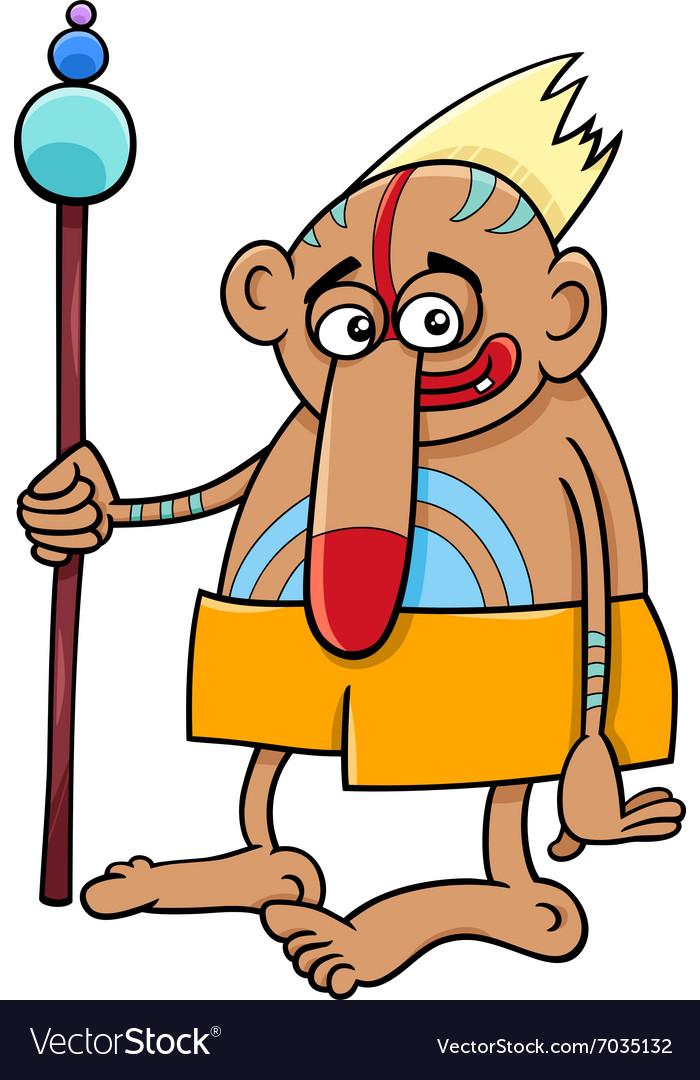 Tribal shaman fantasy character vector image