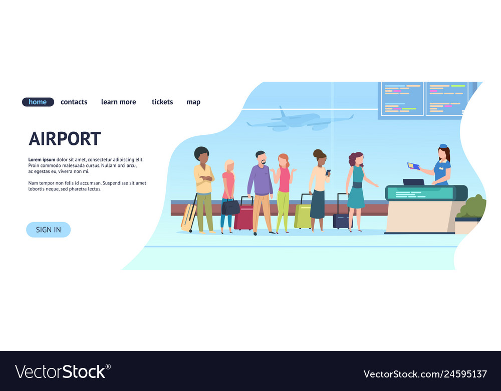 Airport landing page passenger terminal queue