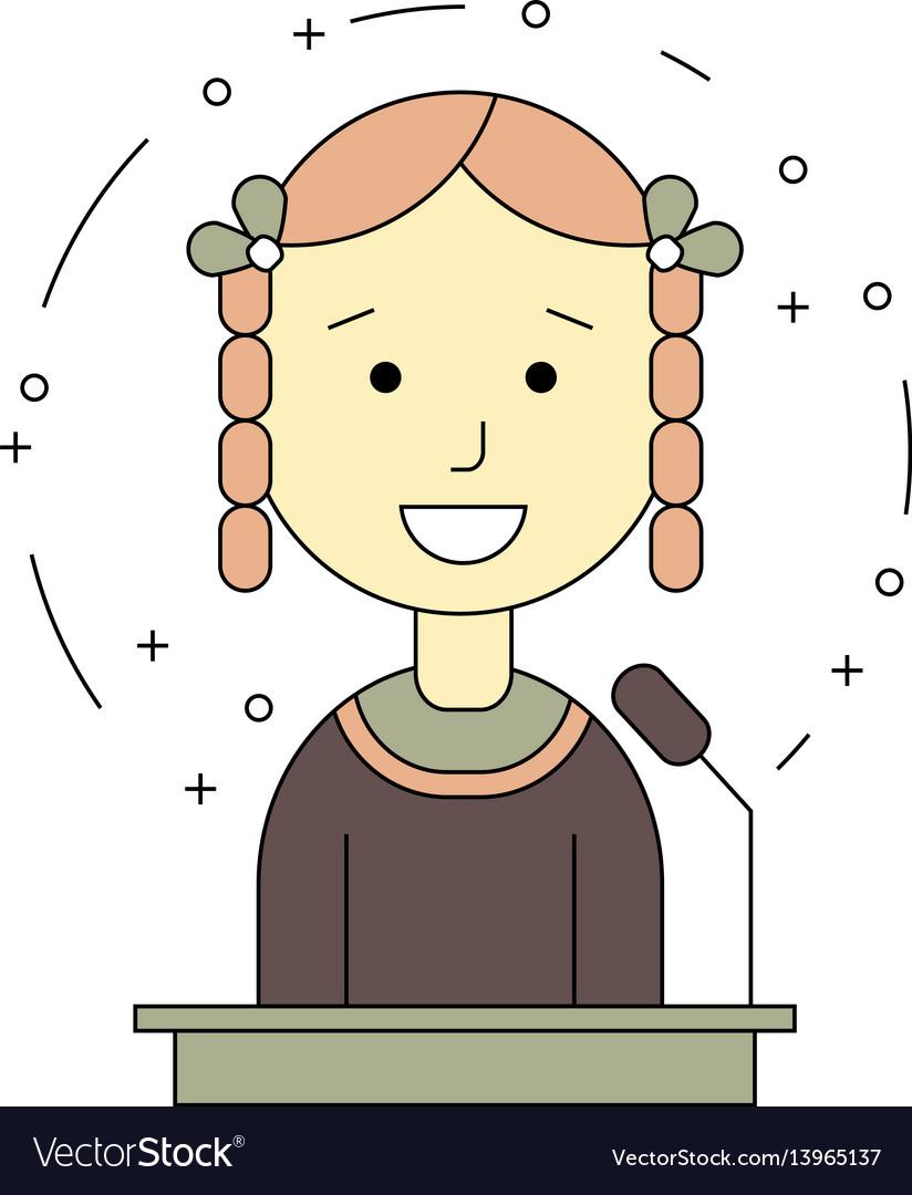 Avatar girl on tribune for speech