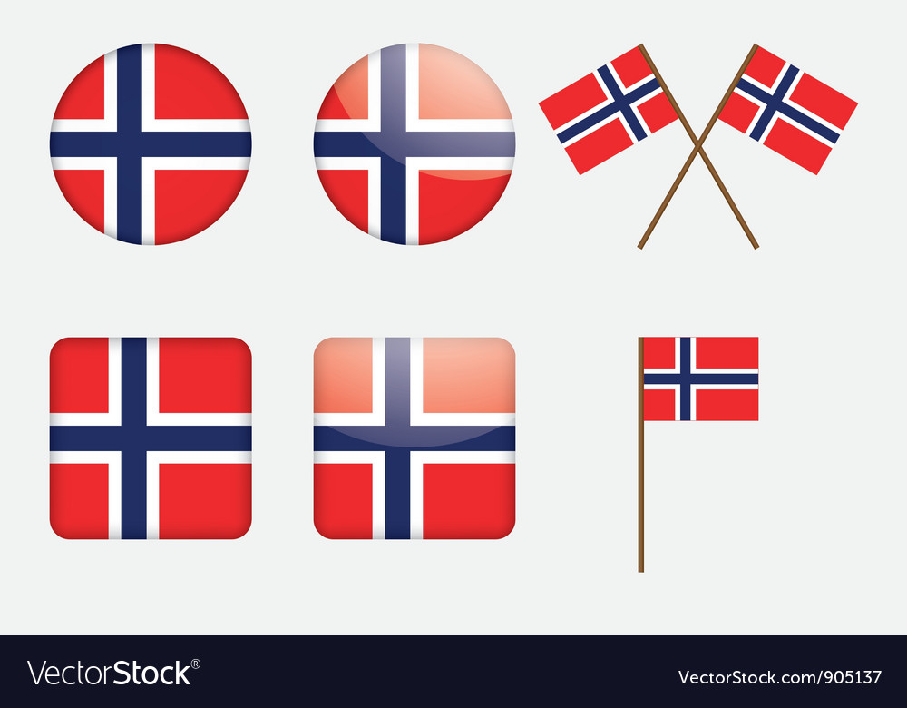 Badges with Norwegian flag