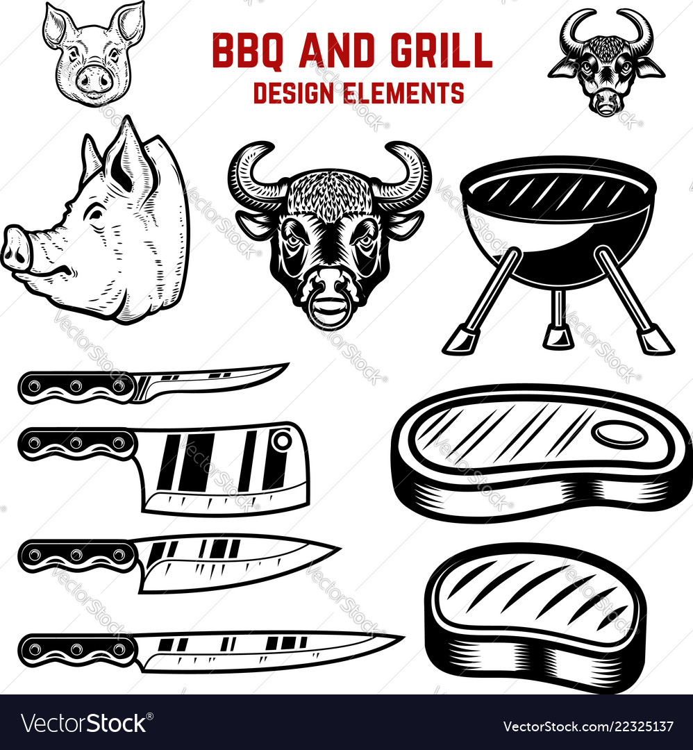 Bbq and grill design elements design element