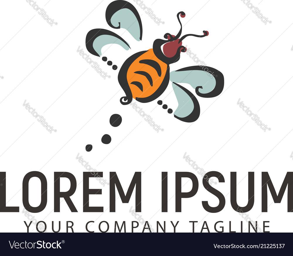 Bee hand drawn logo design concept template