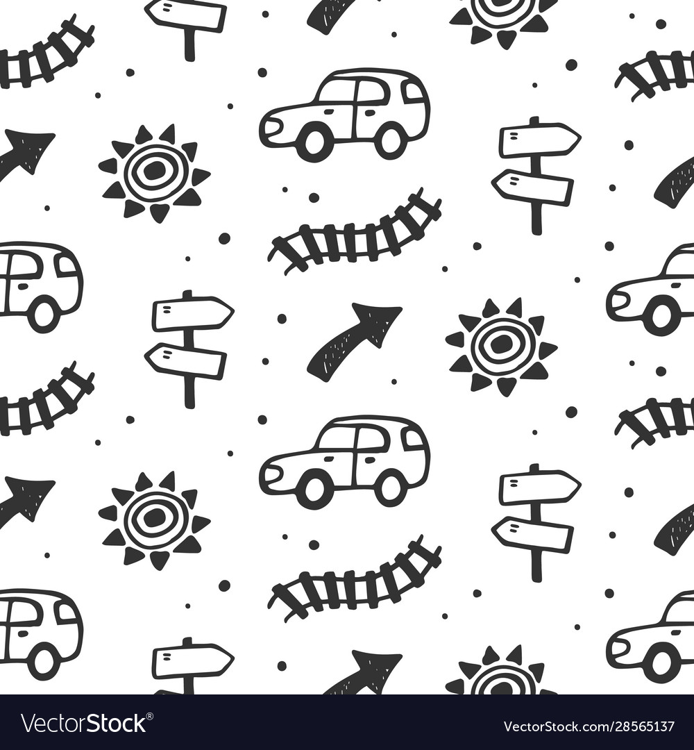Car travel route seamless pattern