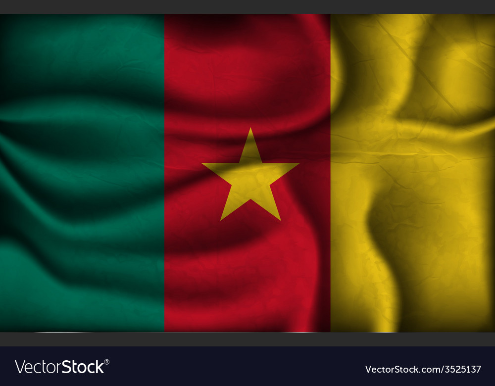Crumpled flag of Cameroon on a light background
