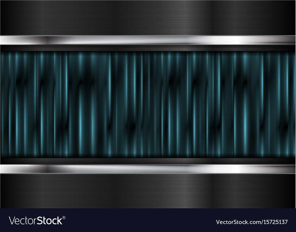 Cyan glowing stripes and metallic background vector image