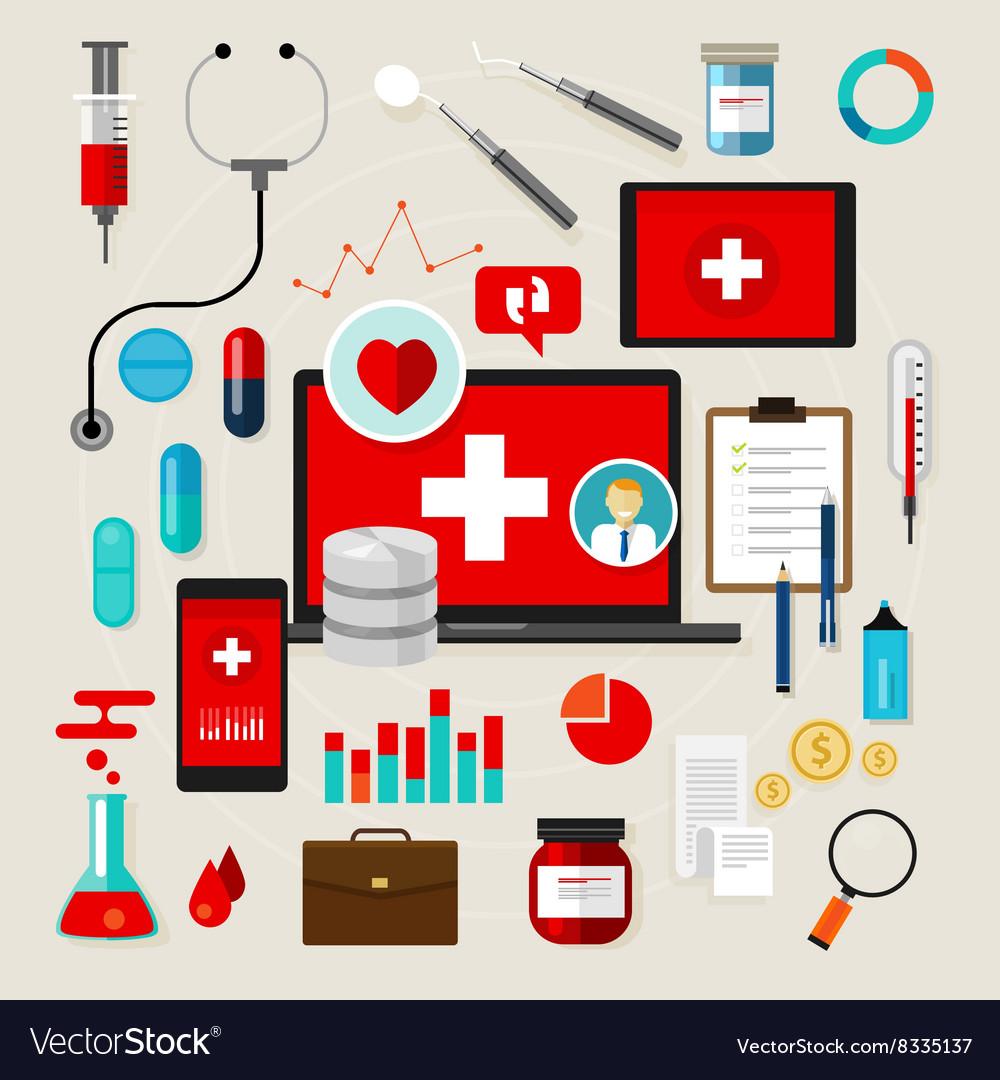 Health medical icon set flat