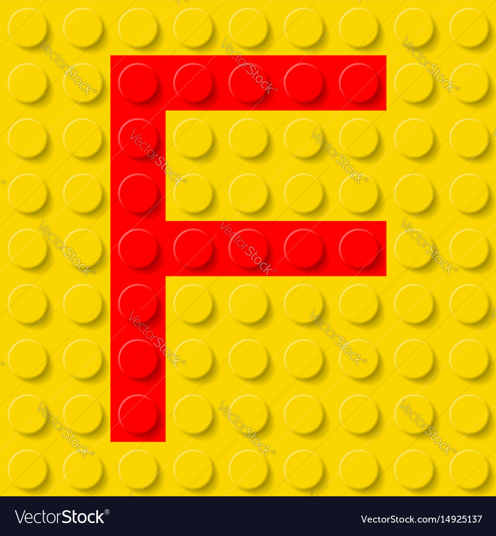 Red letter f in yellow plastic construction kit vector image
