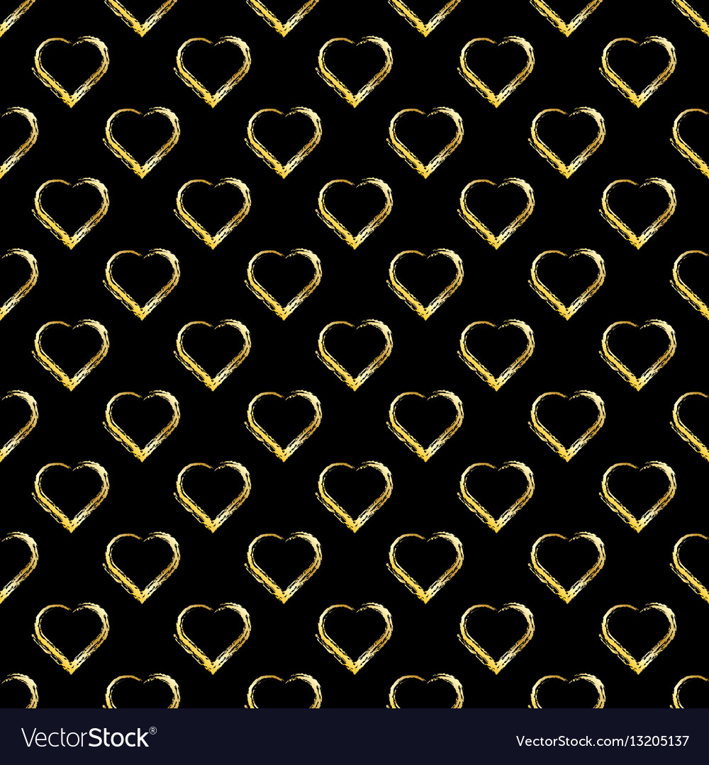 Seamless pattern of gold hearts on black