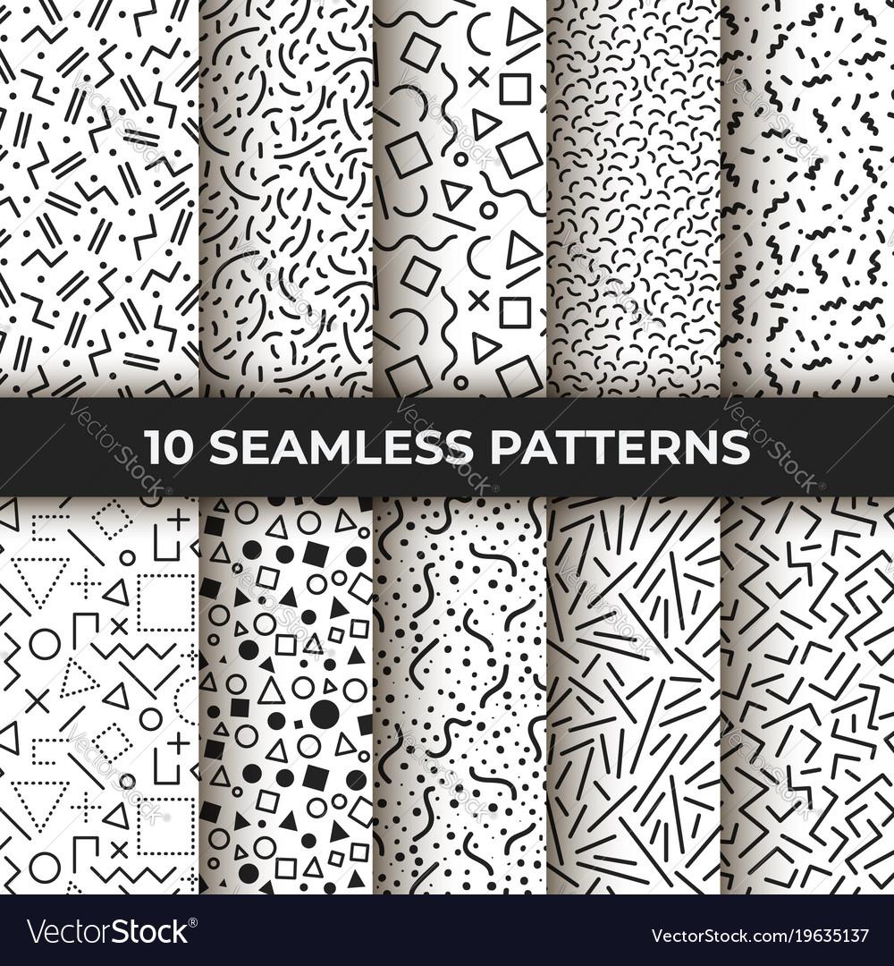Set ten seamless patterns retro memphis