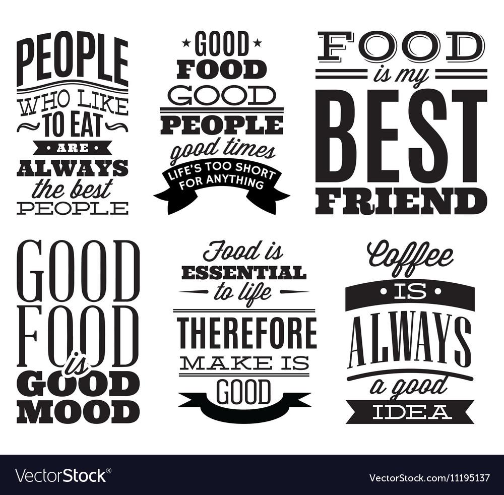 Set vintage typographic food quotes to menu Vector Image