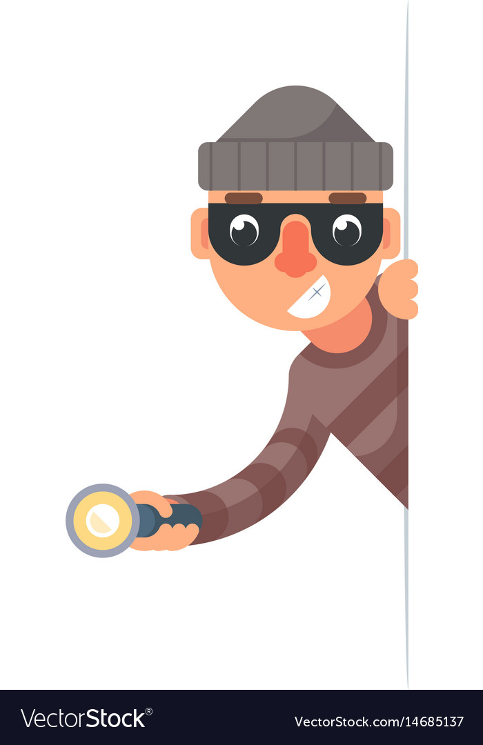 Thief with flashlight peeping out of the corner vector image
