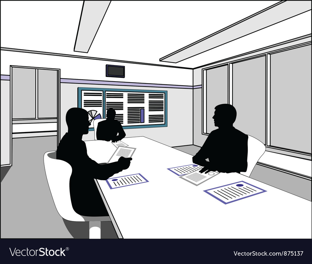 Three business people negotiate at the table vector image