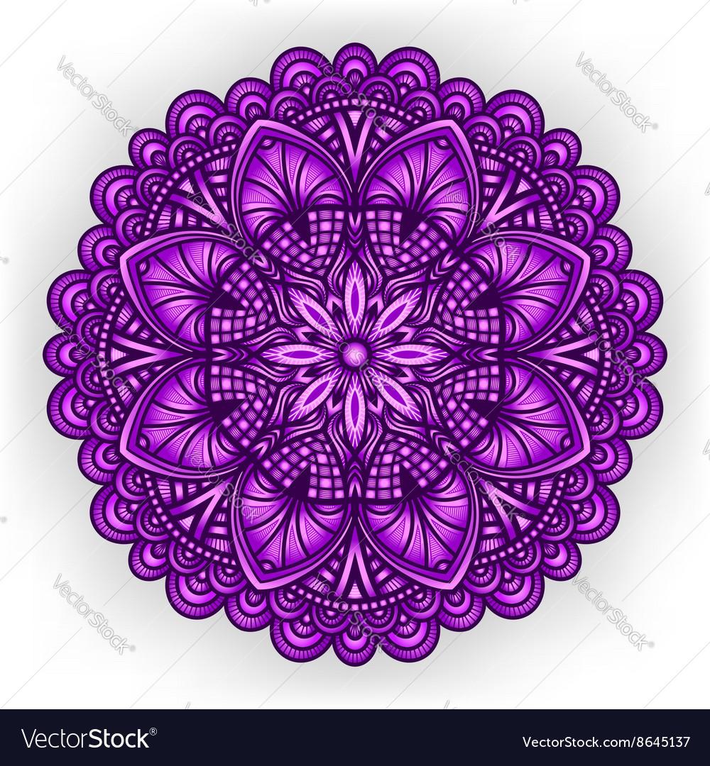 Violet floral ornament circular pattern