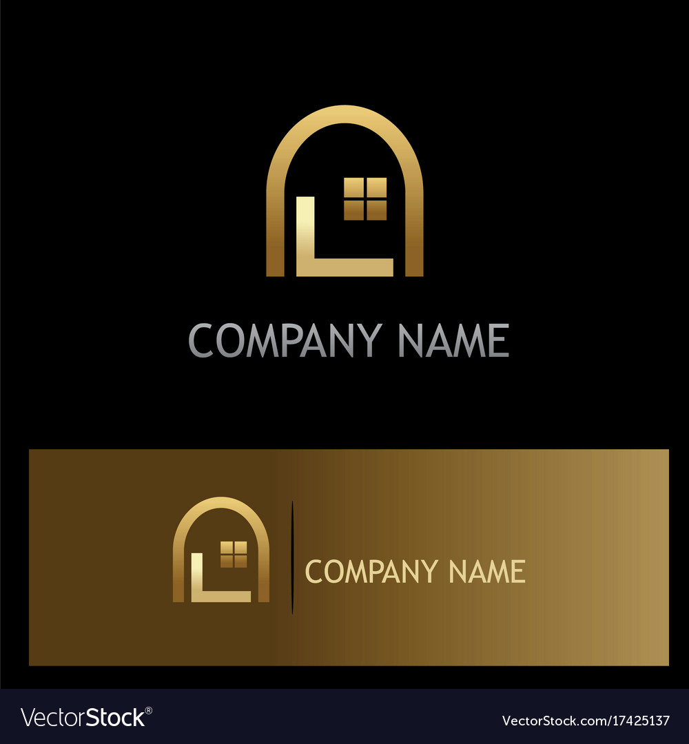 Window home gold logo vector image