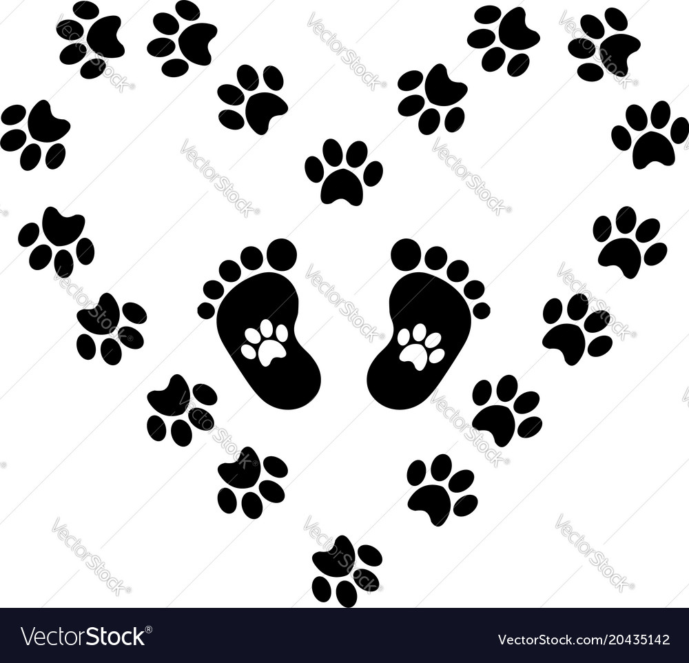 black silhouette of baby footprints with vector image