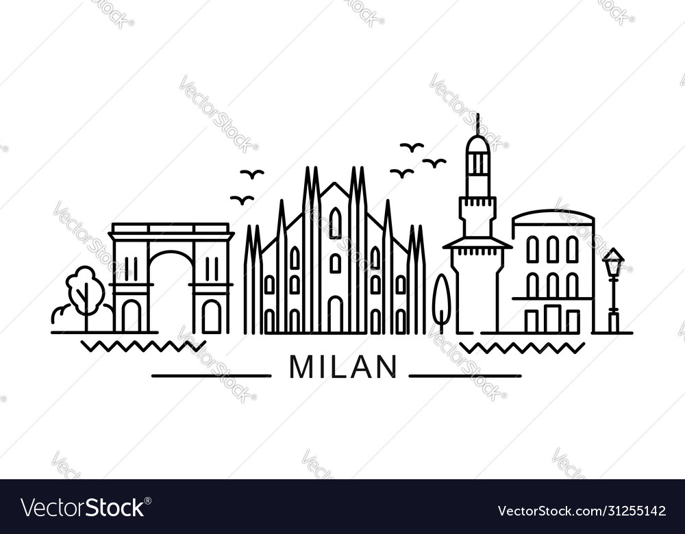 City milan in outline style on white